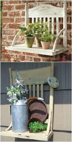Upcycled chair to a great garden shelves! Upcycled chair to a great garden shelves! Diy Garden Furniture, Repurposed Furniture, Furniture Projects, Furniture Makeover, Wood Projects, Furniture Design, Old Wooden Chairs, Old Chairs, Chaise Diy