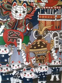 Maneki Neko tapestry hanging wall carnival 32x14 by Morondanga