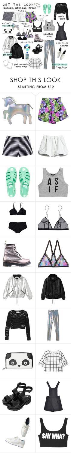 """get the look: modern, minimal, fresh ❁"" by dear-fashion ❤ liked on Polyvore featuring Chicwish, Retrò, J.Crew, Cynthia Rowley, JuJu, Dimepiece, Maison Scotch, Jean Yu, Dr. Martens and Monki"