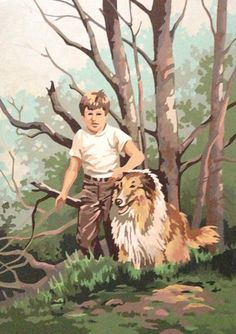 Vintage 70's boy and collie paint by numbers 14 by SeaGlassGifties