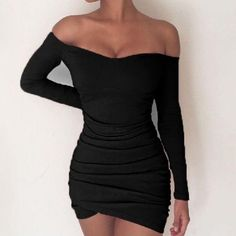 Fashion Sexy Women Long Sleeve Off Shoulder Slim Mini Party Dress Size S Color Black Casual Party Dresses, Bodycon Dress Parties, Tight Dresses, Elegant Dresses, Short Dresses, Glamorous Dresses, Party Outfits, Mini Dresses, Dress Party