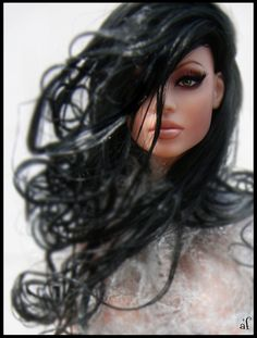 OOAK Fashion Doll with Windswept Black Hair.