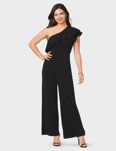 Ruffled One-Shoulder Jumpsuit (original price, $49.00) available at #Dressbarn