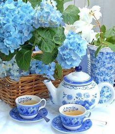 Tea vignette with blue hydrangeas