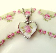 Broken china jewelry heart pendant necklace pink roses on mint green made from a broken plate