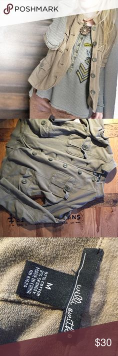 Army green military-esque cotton jacket M Very soft & non-stiff cotton jacket. Size M, measurements in images Willi Smith Jackets & Coats Blazers