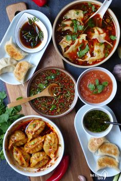 Six dumpling sauces (Ultimate Dumpling Guide part can find Sauces and more on our website.Six dumpling sauces (Ultimate Dumpling Guide part Dumpling Sauce, Dumpling Filling, Dumplings For Soup, Steamed Dumplings, Asian Recipes, Healthy Recipes, Ethnic Recipes, Asian Desserts, Healthy Food