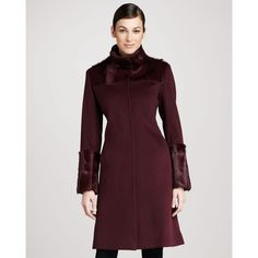 Cinzia Rocca Mohair-Trim Wool Coat ($1,332) ❤ liked on Polyvore