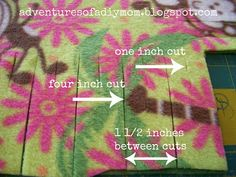 No Sew Fleece Blanket |Adventures of a DIY Mom.  I like this better than the usual ties for this type of blanket.