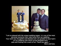 Same sex wedding cake topper for a gay couple, custom made for these two guys... any style of birthday,anniversary or wedding cake topper or figurine can be sculpted to your specs   http://www.magicmud.com  $240 #gay#wedding#cake#topper#custom#personalized#samesex#homosexual
