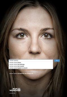 a ONU lançou uma nova (e excelente) campanha que consiste em uma série de imagens utilizando o campo de busca do Google mostrando as sugestões que ele dá baseado nas buscas das pessoas