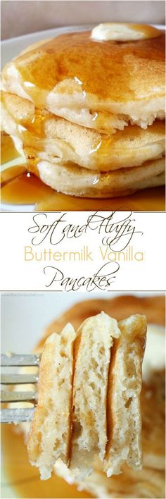 The softest, fluffiest, best buttermilk pancakes... from scratch! Savor the sweet hints of vanilla and warmth of the cinnamon; the perfect breakfast! #buttermilkpancakesrecipecups #buttermilkpancakesrecipetreats