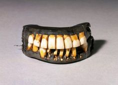 "GEORGE WASHINGTON'S DENTURES ""Dr. John Greenwood fashioned a set of dentures of hippopotamus ivory and gold wire springs and brass screws holding human teeth. Greenwood left a hole to accommodate Washington's single tooth. When Washington finally lost this tooth as well, he gave it to Greenwood who saved this cherished item in a special case. ""All of Washington's dentures caused him pain and produced facial disfigurement"""