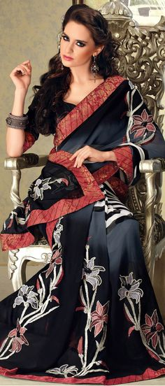 #Black and #Grey Faux #Georgette #Saree with Blouse @ $ 56.05