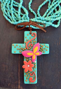 Cowgirl Bling Clay CROSS Flowers Butterfly Turquoise Bead Gypsy necklace #Unbranded #BEADEDwithpendant