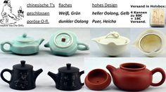 Komplettes Kannen Set:  Longquan Celadon 110ml für Grün / Weiß Tee; Dehua Gaiwan 120ml für helle Oolong und junge Sheng Pu-erh; Yixing Fanggu 120ml für dunkle Oolong wie Felsentee und Dancong; Jianshui Keramik 100ml für Pu-erh. Alles sicher verpackt in einer Holzbox zu 88€ und 18€ Versand zu dir auf deinen Teetisch via cha.shifu@yahoo.de