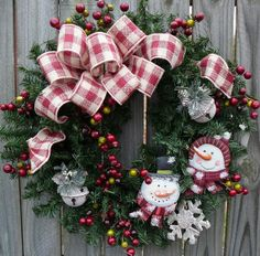 Holiday Wreath  Primitive Snowman Wreath   by HornsHandmade
