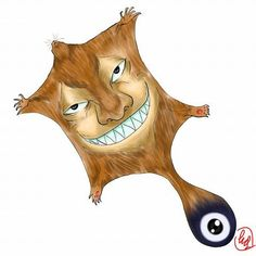 Nabusuma- Japanese folklore: a huge flying squirrel like creature with a human face. It slams its tail down real hard and fast to be lifted in the air and then it stretches out its skin to fly.