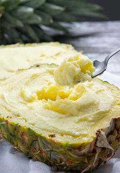 This Creamy Pineapple Sorbet is full of fresh pineapple with just a hint of cream to give it an ultra luscious texture that just melts in your mouth!
