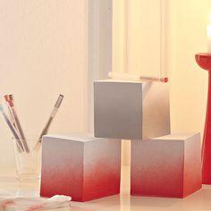 Notizblöcke mit Farbverlauf DIY 30 min einfach mit Sprühfarbe ansprühen. Im Farbverlauf oder einfarbig.