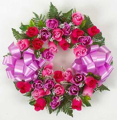 Rosebud Wreath with Lavender/Pink/Fuchsia Silk Flowers - 18 Inch