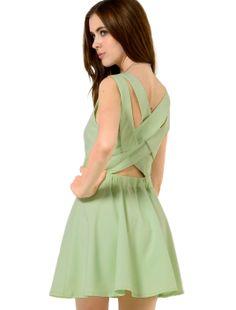 Light Green Criss Cross Back Sleeveless Dress