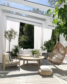 Don't be tempted to overspend when creating the perfect outdoor space. The large backyard landscaping ideas can get costly quickly if you're not careful. Outdoor Rooms, Outdoor Living, Outdoor Decor, Outdoor Hanging Chair, Patio Interior, Interior And Exterior, Backyard Patio, My Dream Home, Home Deco