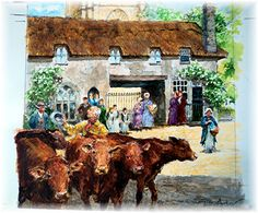 St Mary's Church Brixham by artist Peter Archer. Archer, Cow, Saints, Mary, Artist, Painting, Sterling Archer, Artists, Painting Art