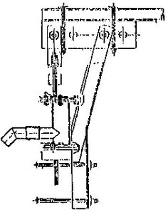 Crank operated piston pump (valve details not indicated