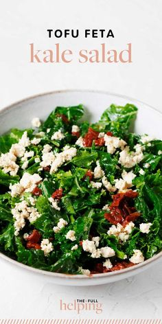 This tofu feta kale salad is fresh and light, yet packed with plant protein and good nutrition. It's made with a tangy lemon hemp dressing and sun-dried tomatoes. #vegan #plantbased Vegan Lunch Recipes, Salad Recipes, Kale Salad, Cobb Salad, Plant Protein, Vegan Protein, Dried Tomatoes, Sun Dried, Tofu