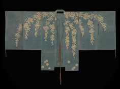 Noh costume (chôken)  Japanese, Edo period, 18th century, Noh theater dancing cloak (chôken) for female role with design of weeping cherry branches falling from the shoulders with front and back panels in gilt paper strip discontinuous supplementary patterning wefts on a light blue silk gauze ground. MFA