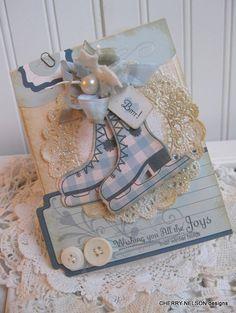 shabby chic WINTER SKATES wishing you all the joys that winter holds BRRRR handmade card