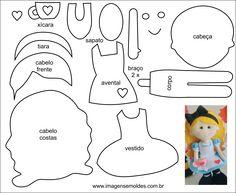Molde de Personagem para EVA Feltro e Artesanato 1 Alice In Wonderland Crafts, Felt Doll Patterns, Disney Plush, Felt Dolls, Felt Art, Baby Crafts, Paper Piecing, First Birthdays, Fabric Dolls