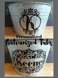 Personalized Galvanized Tubs, drink bucket mother's day flower bucket flower planter galvanized bucket outdoor galvanized metal home decor