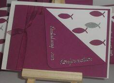 Einladungskarte FISCH zur Kommunion Konfirmation, Fotokarton, Papier, A6