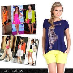 Os tons vibrantes como o neon são tendência garantida para alegrar os looks do verão 2014. Invista! <3