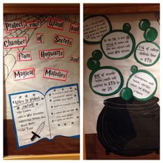 """Bulletin board for Harry Potter themed residence hall. """"Protect your wand and chamber of secrets from hog warts and magical maladies"""""""