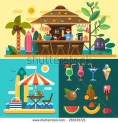 Summer vacation in a tropical country. Relaxing at the beach, cafe-bar bungalows on the ocean coast. Vector flat illustration