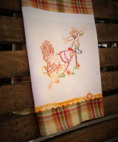 Autumn Fall Kitchen Tea Towel Recycled Vintage by TwoGirlsLaughing