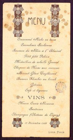 Menú del restaurant Casa Pince de Barcelona, 15 de desembre de 1906