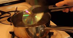 Boil CDs to make them easier to cut. In this video she makes a disco ball with Styrofoam and wire through the center, and jewelry.