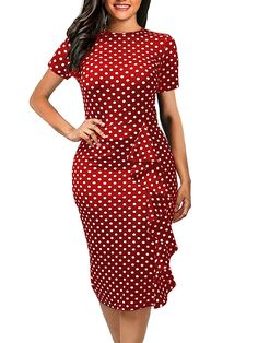 oxiuly Women's Vintage Polka Dot Floral Stretchy Work Business Casual Bodycon Sheath Knee-Length Pencil Dress - Red Striped X-Large Plus Size Maxi Dresses, Trendy Dresses, Casual Dresses, Short Sleeve Dresses, Dresses For Work, Tight Dresses, Office Dresses For Women, Dresses Dresses, Spring Dresses