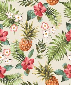 537989397 vintage seamless tropical flowers with pineapple vector pattern background