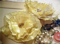 vintage fabric made flowers
