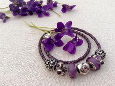 Pandora Purple Leather Bracelet With Cherry Blossom Clips
