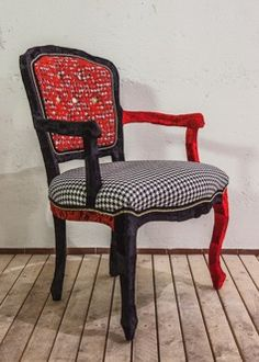 Boudoir Red Lace parisian armchair - early 1900's - upcycled in pied et poule and macrame coton lace, gold chain finishing and structure entirely hand covered in velvet. https://www.etsy.com/uk/listing/211123188/boudoir-red-lace-armchair?ref=related-2 www,goshhh.com