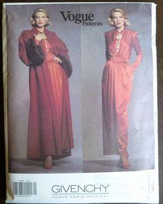 Vintage Sewing Pattern Vogue 1046 Givenchy - Misses Coat, Dress and Belt - Size 14 - UNCUT