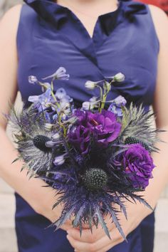Pretty purple...love the thistles, would be great in a winter wedding