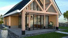 Robuuste douglas houten palen en draagbalken Barn House Design, Villa Design, Building Design, Building A House, Small Cottage Homes, Modern Prefab Homes, Bungalow Homes, Country Barns, Tiny House Cabin