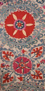 Suzanis from Uzbekistan - (The oldest surviving suzanis are from the late Textile Patterns, Textile Design, Textile Art, Fabric Design, Print Patterns, Fiber Art, Folk Art, Needlework, Oriental